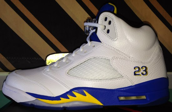 Air Jordan 5 Retro Laney White Royal Maize shoes