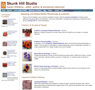Screenshot of Classes & Workshops page for www.skunkhillstudio.com