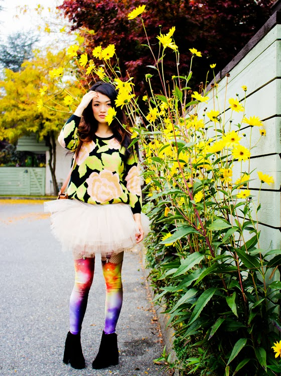 Vancouver Fashion blogger Jasmine Zhu, Sheinside floral jumper, BCBG tutu, Romwe galaxy leggings