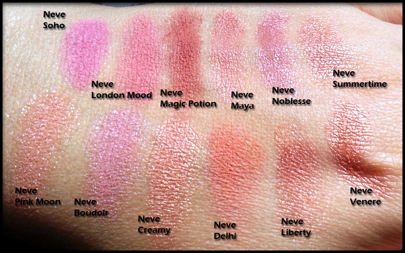 Neve Cosmetics - Blush Minerali - Swatch di confronto tra Soho, London Mood, Magic Potion, Maya, Noblesse, Summertime, Pink Moon, Boudoir, Creamy, Delhi, Liberty e Venere