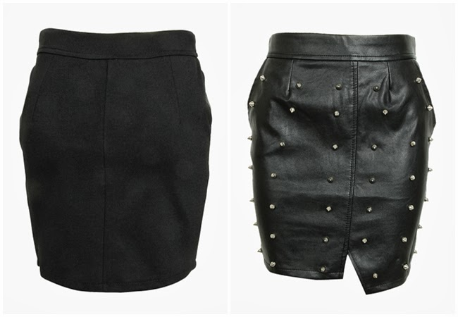 Choies Stud PU Pencil Skirt Contrast Polyester Back