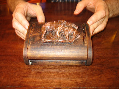 wooden box with elephants