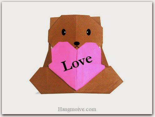 Cách gấp, xếp con gấu ôm trái tim bằng giấy origami - Video hướng dẫn xếp hình trái tim quà tặng - How to fold a Heart Bear