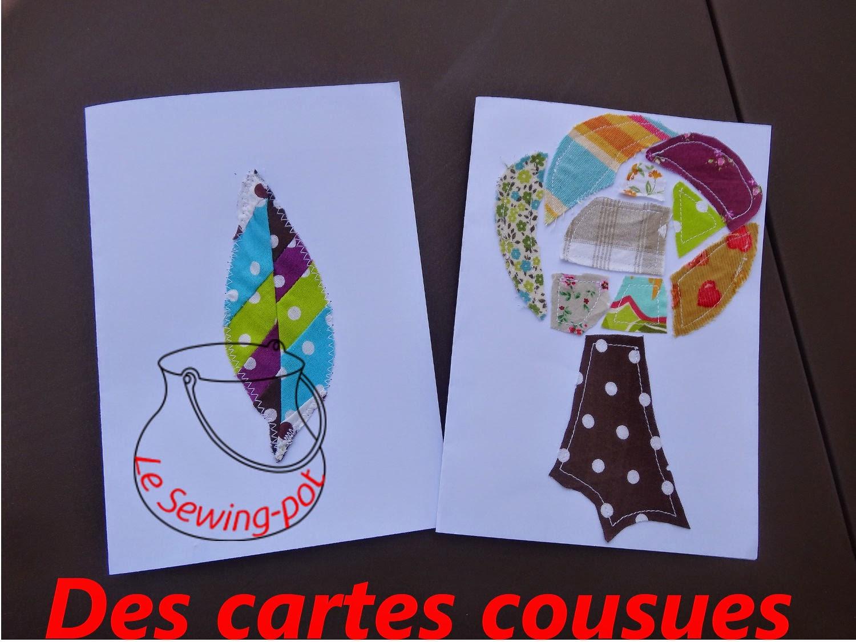 cartes patchwork cousues arbre plume