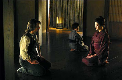 Tom Cruise as Nathan Algren, Japanes actress Koyuki as Taka, The Last Samurai, directed by Edward Zwick