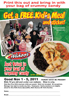 Free Kid's Meal and Sticker with Candy Exchange at Wahoo's Fish Taco