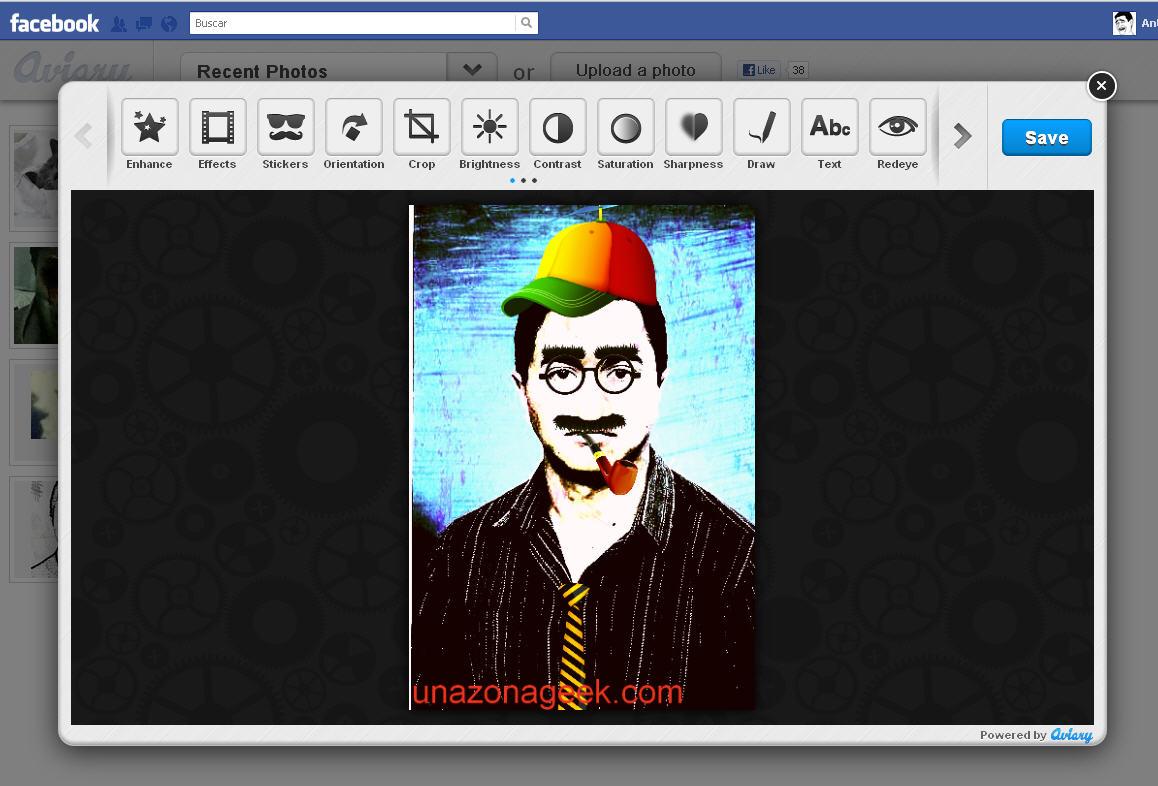 Editor de fotos para facebook con pegatinas y atractivos for Editor de fotos efectos