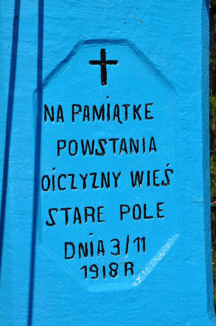 Stare Pole k. Gowarczowa, napis na przydrożnym krzyżu.