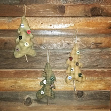 3 PRIM TREE ORNAMENTS