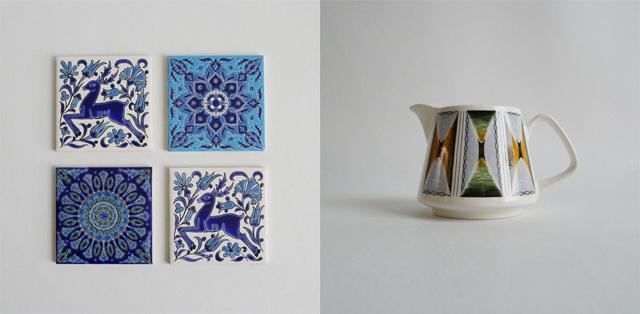 vintage decorative tiles with deer and mandala and midcentury jug