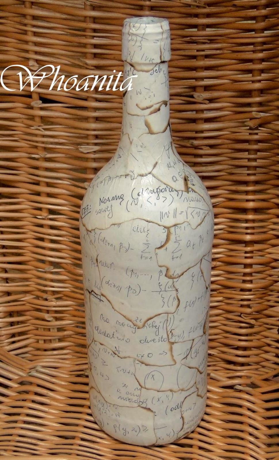 butelka wyższa matematyka, decoupage