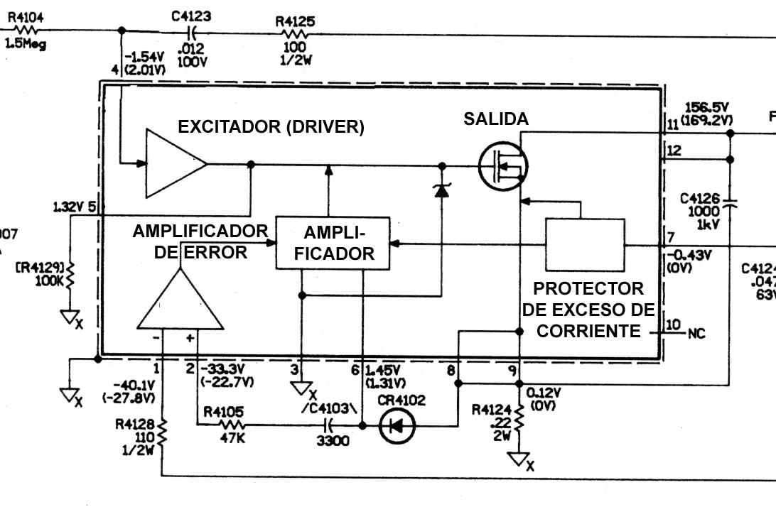 Esquema interno de los circuitos integrados de la serie STK730-XXX.