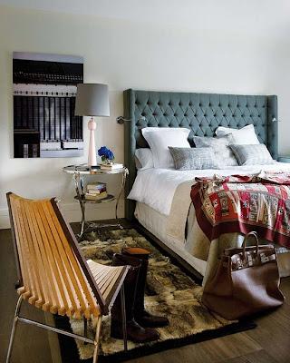 art in bedroom, masculine bedroom, tailored bedding, warm interiors, art in the bedroom
