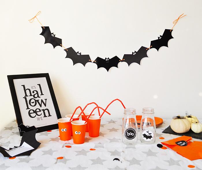 Printable halloween bats bunting