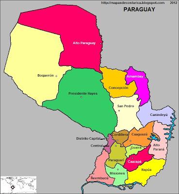 Mapa de la organización política de PARAGUAY con el nombre de las regiones