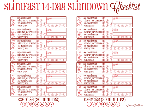 Great free printable for the Slimfast 14-Day Slimdown Challenge!