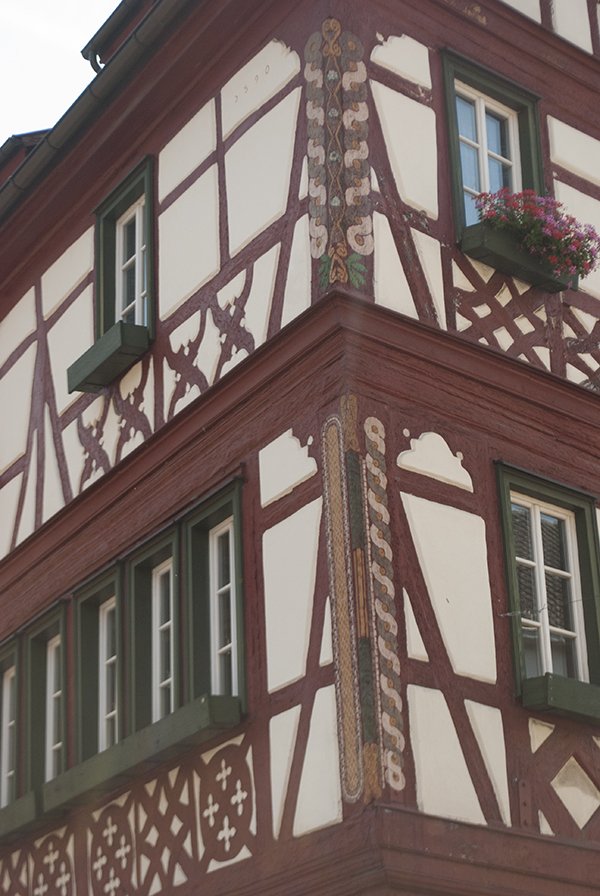 colorful bavarian half-timbered house