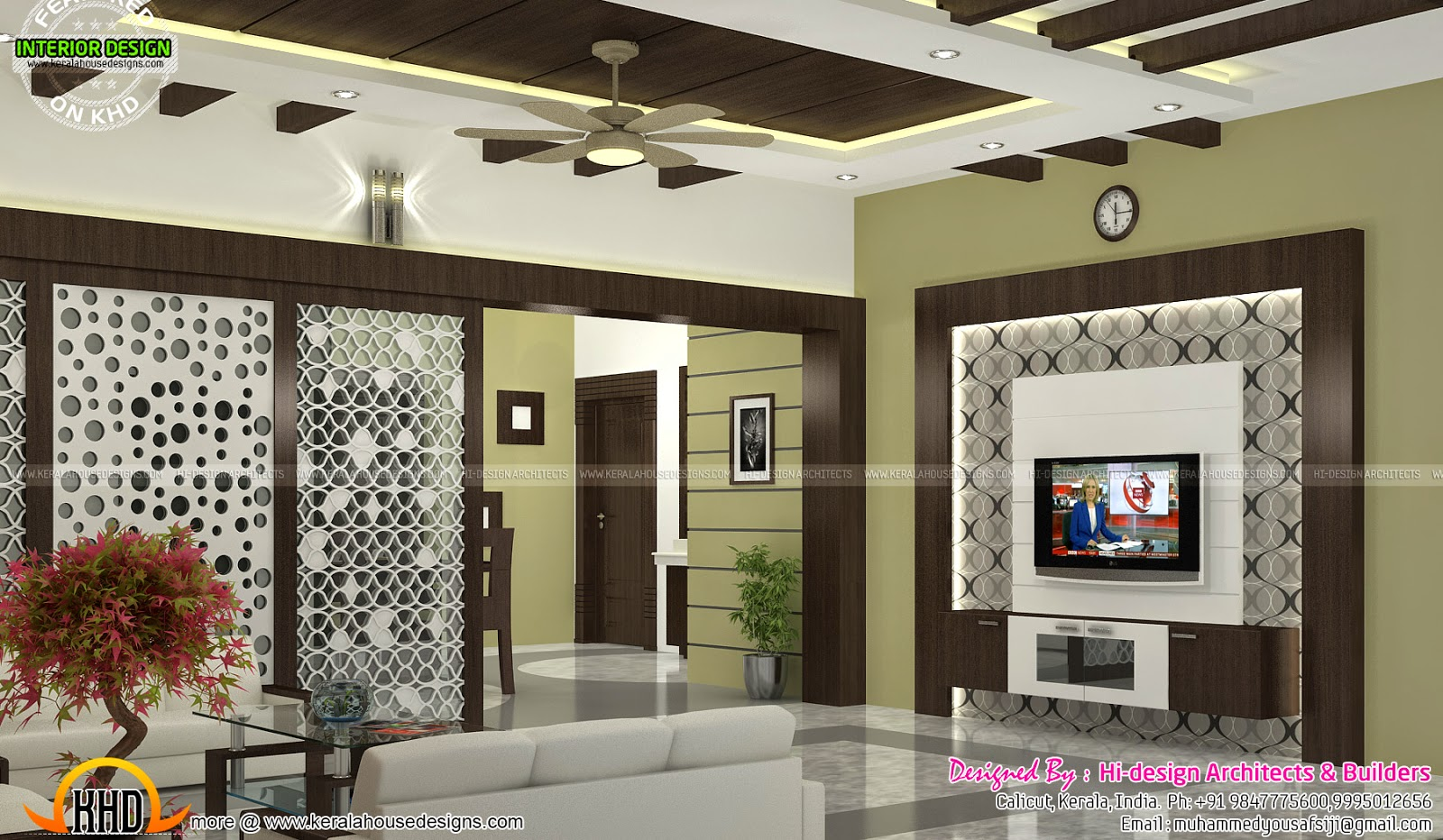 Sitting bedroom and dining interiors kerala home design for Dining room designs kerala