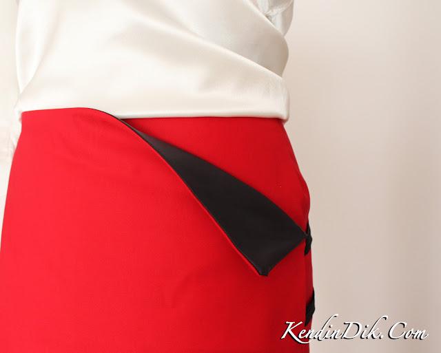 designer knock off sewing details, red skirt, Rag & Bone