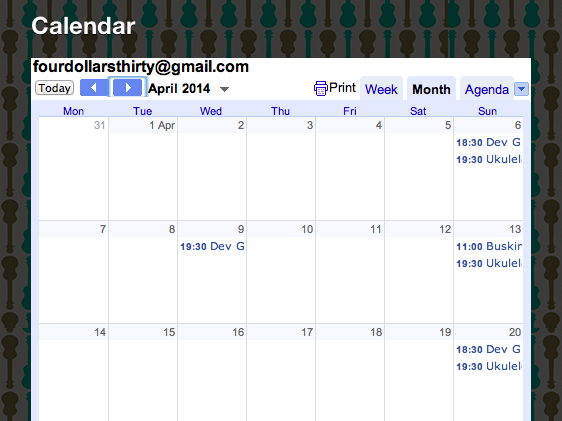 Screen cap of a google calendar. Every Sunday is booked out.