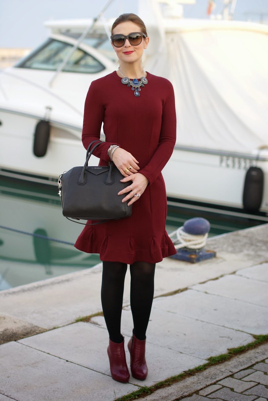 Carven burgundy dress, Givenchy Antigona bag, Fashion and Cookies, fashion blogger