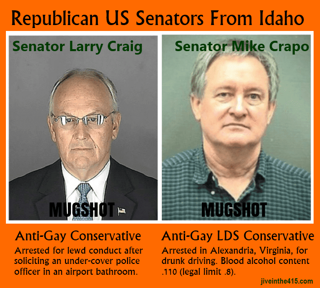 Mugshot of former Idaho Senator Larry Craig and current Idaho Senator Mike Crapo