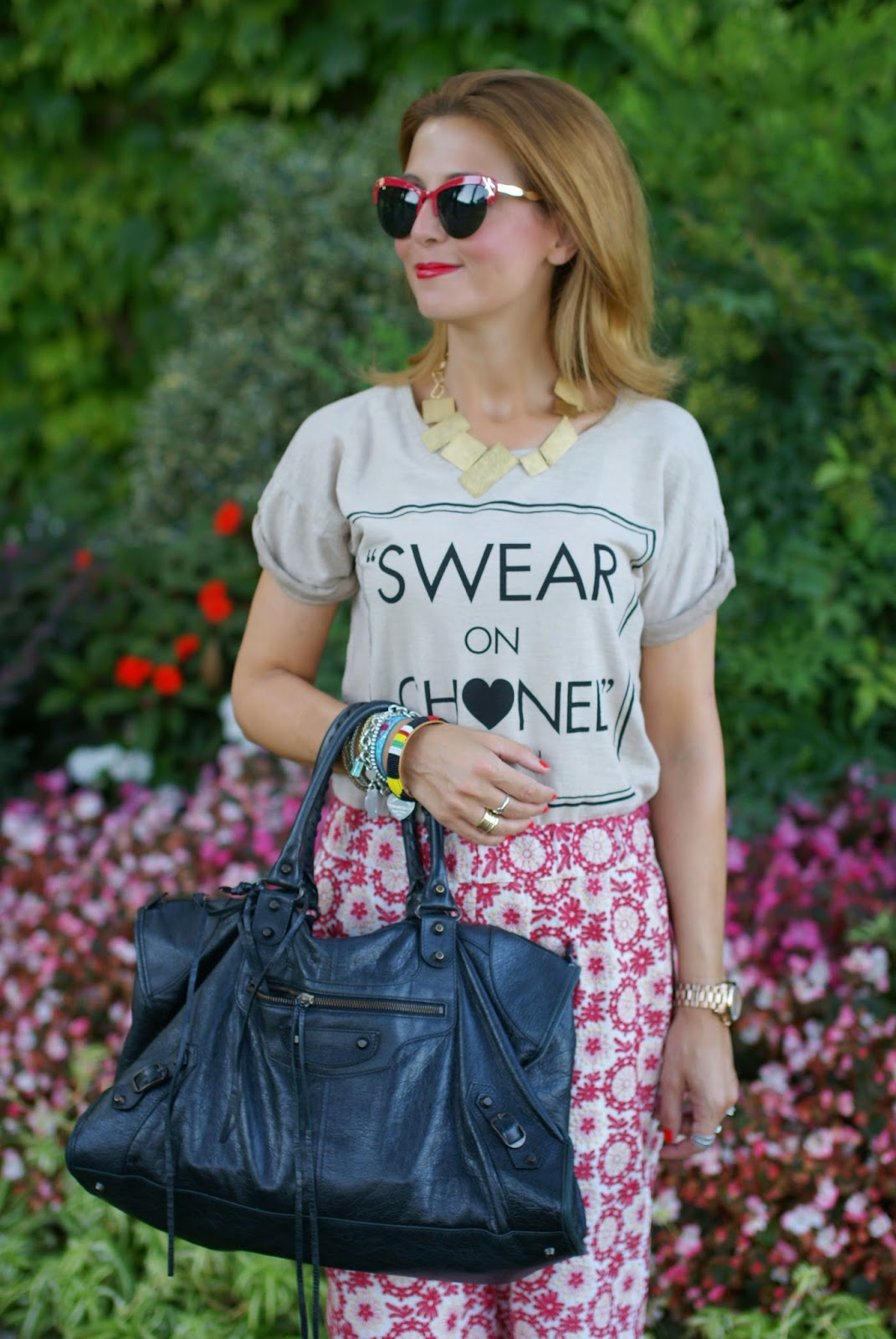 Swear on Chanel t-shirt, Spitfire sunglasses, Balenciaga work bag, crochet culottes pants, Fashion and Cookies, fashion blogger