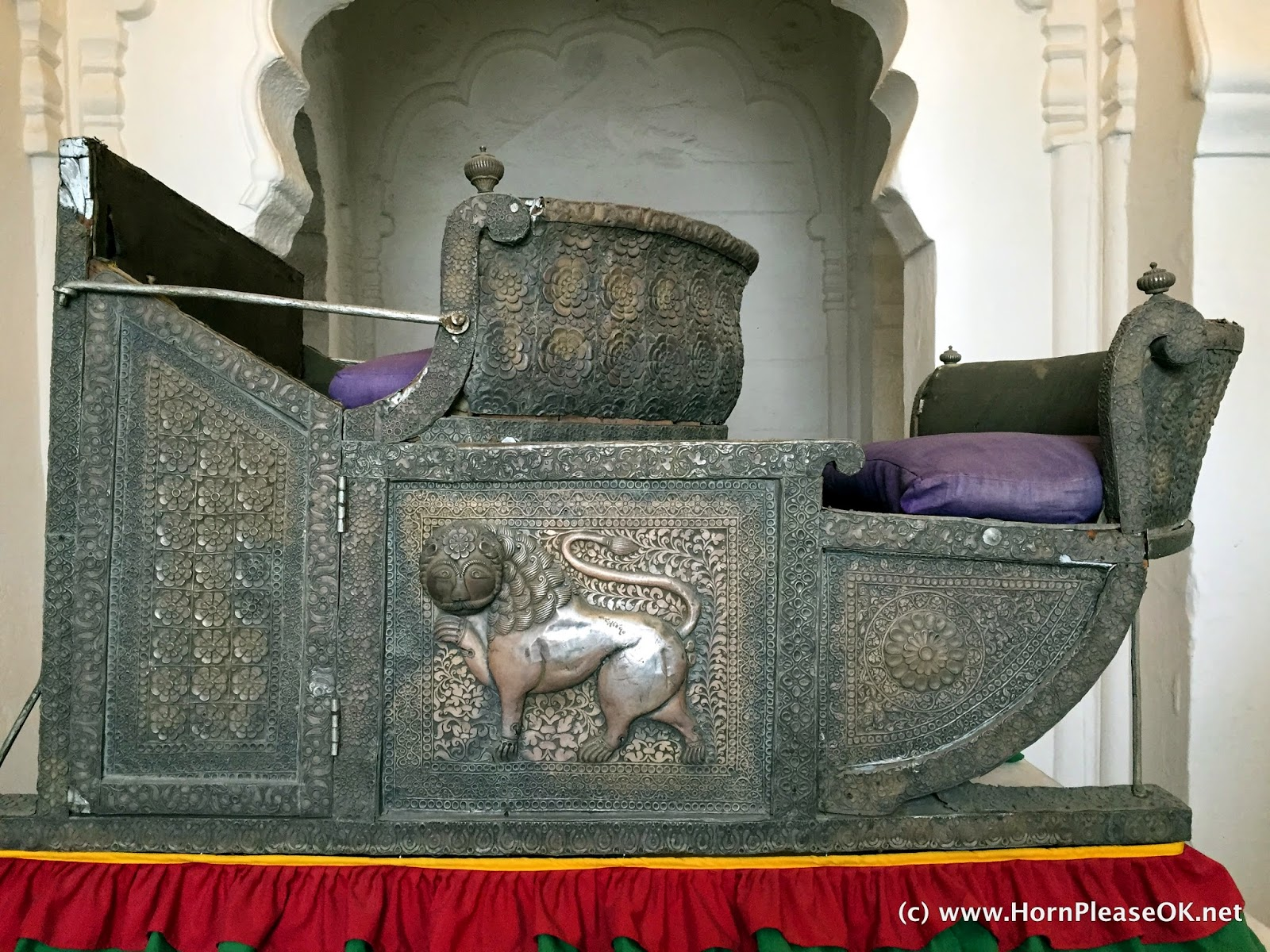 Howdah made out of pure silver in the museum at Mehrangarh Fort