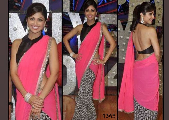 1365 - Indian Actress Shilpa Shetty pretty in half and half saree at Nach Baliye