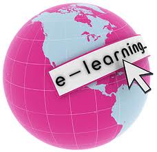 This is a globe that says e-learning.