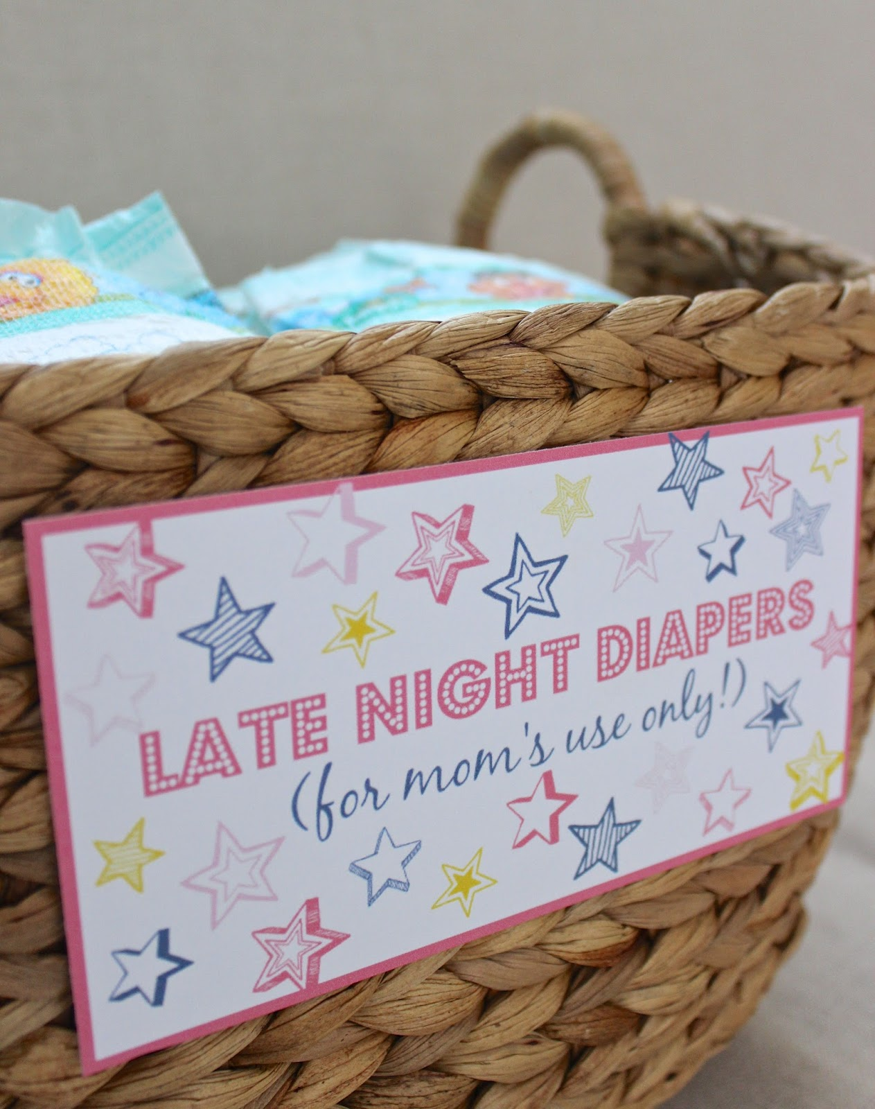 Late night diapers baby shower printables driven by decor for Baby shower decoration ideas with diapers