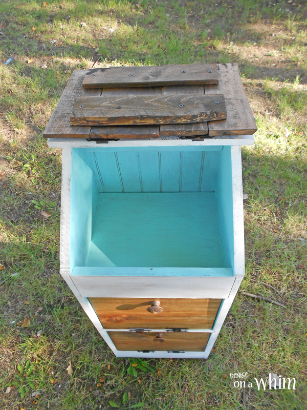 Contemporary Rustic Vegetable Bin Makeover in White and Teal from Denise on a Whim