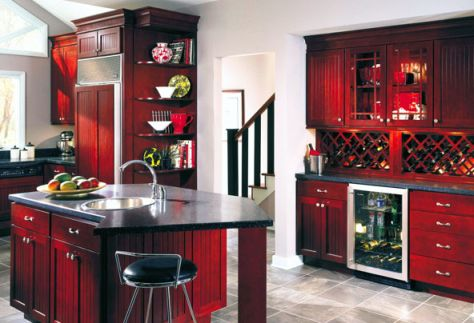 Tube 8 Design Antique Red Kitchen Cabinets