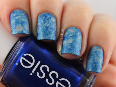 Blue Saran Wrap Nails