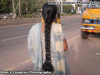 Young chennai girl with huge and very long hair braid at Anna salai.
