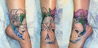 Feminine Ankle Flower Tattoo Design