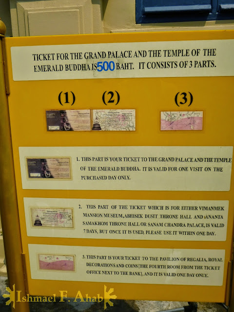 Description of admission ticket to Bangkok Grand Palace