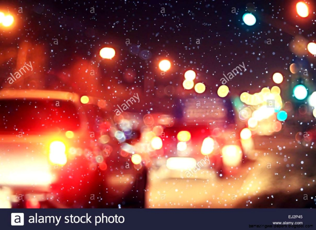 Blurred Night Background City Traffic Road City Lights Winter Snow