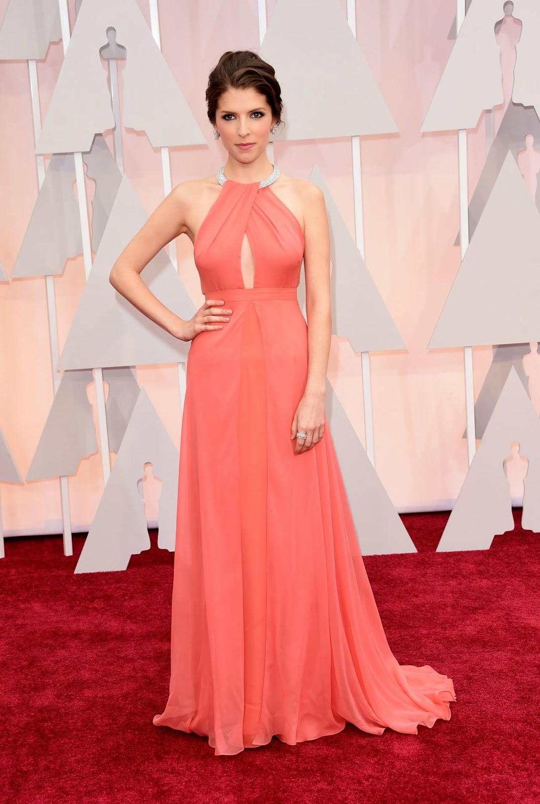 Anna Kendrick wears a beautiful peach gown at the 2015 Oscars in Hollywood