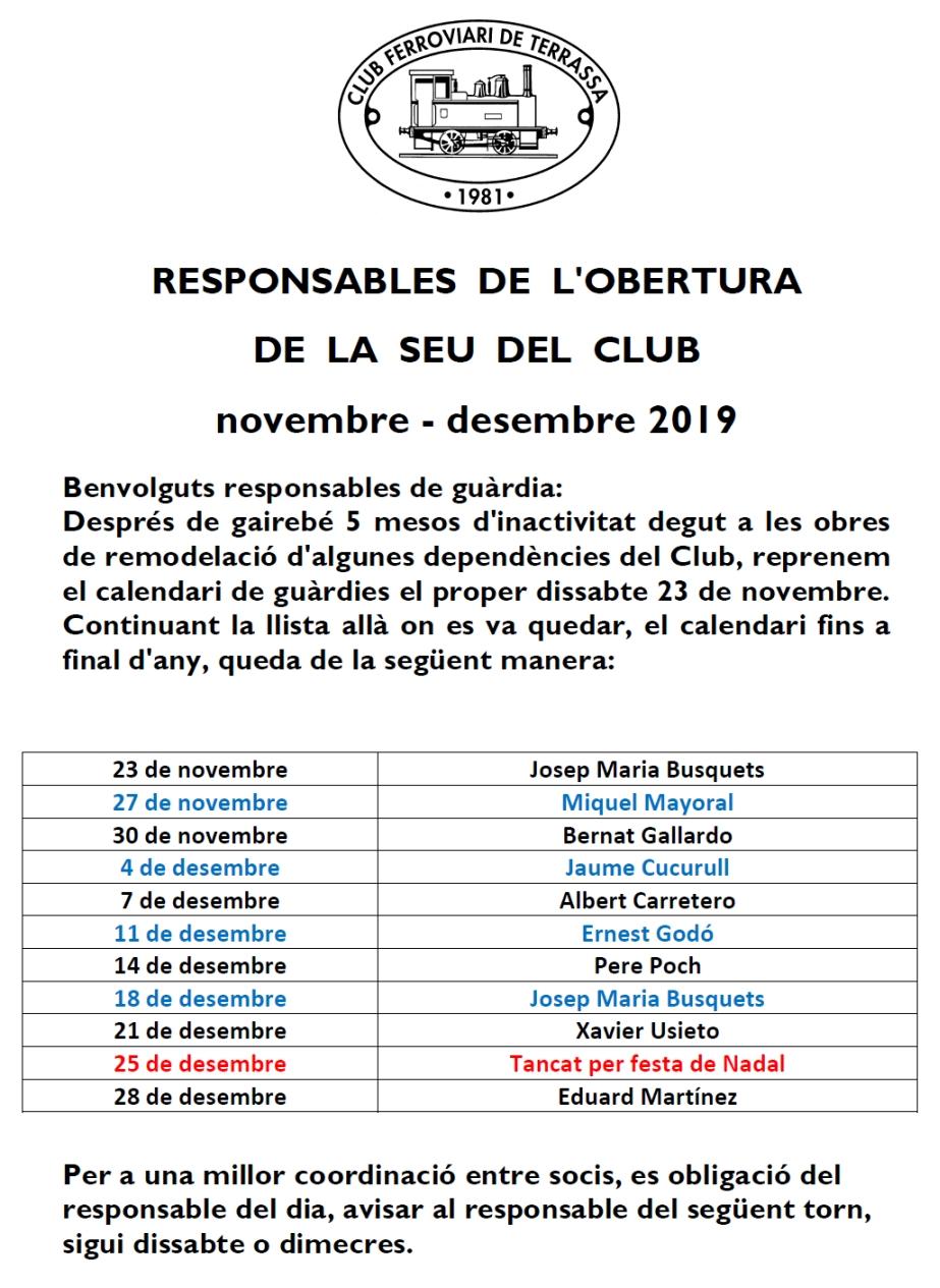 Responsables de l'obertura del local del Club Ferroviari de Terrassa