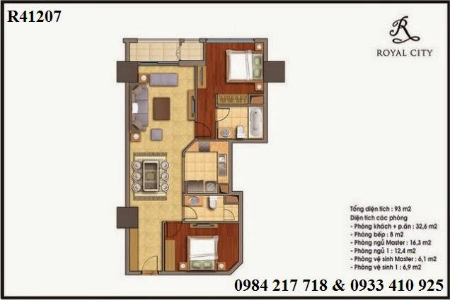 Mua bán căn hộ chung cư Hà Nội, khu căn hộ cao cấp Royal City, căn hộ R41207 diện tích 93 m2 giá 3ty987