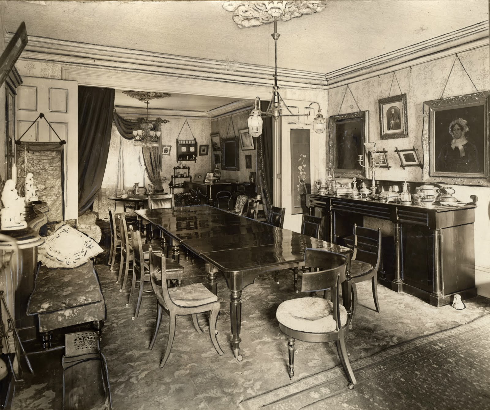 The Dining Room Is Pictured Here And On Far Wall You Can See Portraits Of John Small Left Elizabeth