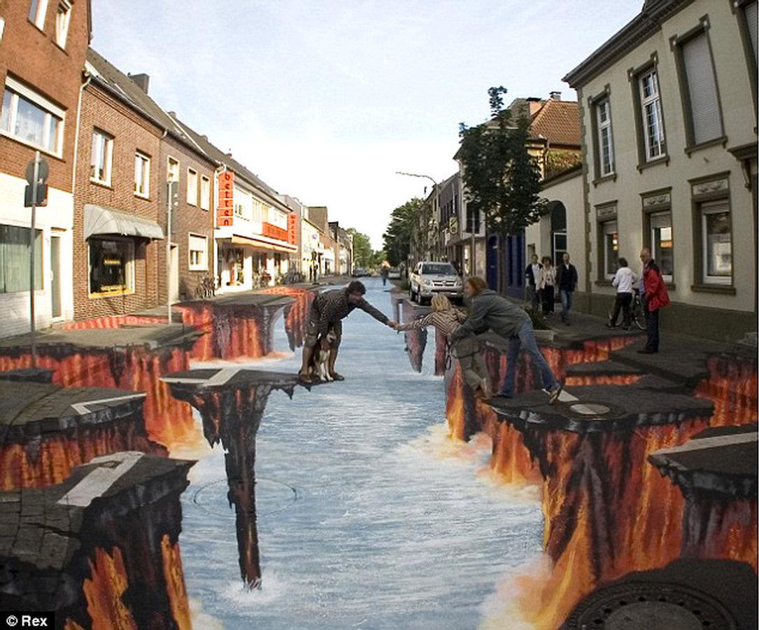 ... street arts, street art 3D, art, 3d drawing, 3d street art waterfall