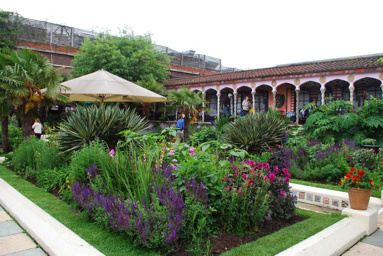 The Spanish Garden Was Very Striking With Mediterranean Plants And Colours.