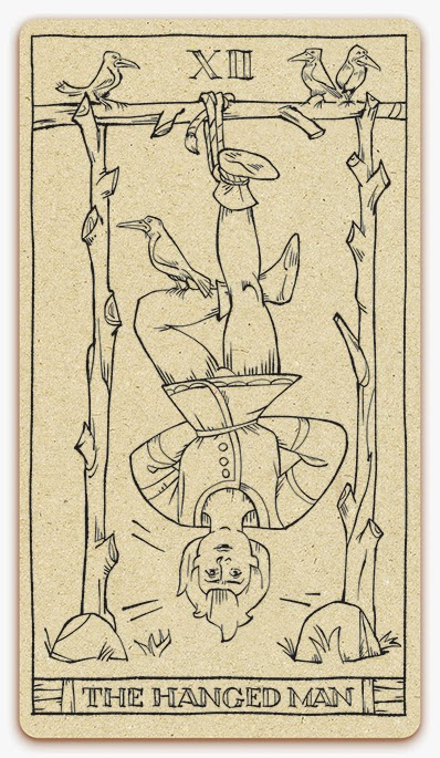 The Hanged Man card - inked illustration - In the spirit of the Marseille tarot - major arcana - design and illustration by Cesare Asaro - Curio & Co. (Curio and Co. OG - www.curioandco.com)