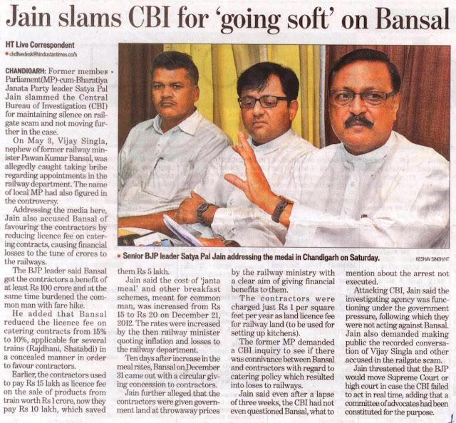 Senior BJP leader Satya Pal Jain addressing the media in Chandigarh on Saturday.