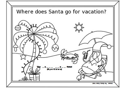page 8 word jumble coloring page with santa on the baech for christmas activity