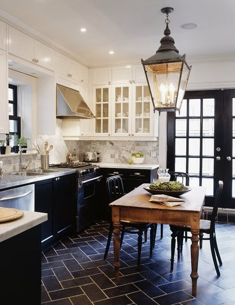 White Kitchens with Black Cabinets and Floors