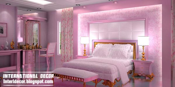 contemporary bedroom design ideas with pink lighting and luxury furniture