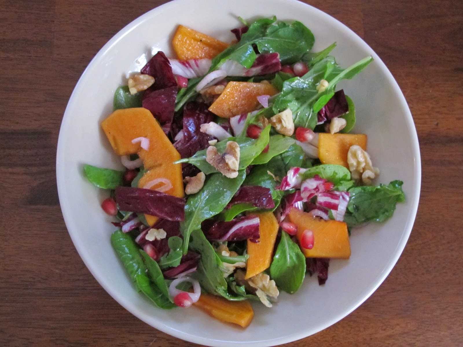 Persimmon, Pomegranate, Walnut, and Arugula Salad